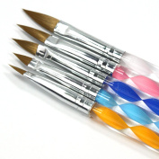 5 X 2-ways Coloured Acrylic Nail Art Brush Cuticle Pusher Drawing Painting Pens Tool Set No. 2/4/6/8/10