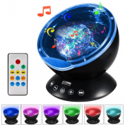 GRDE Remote Control Projector Light With Built-in Music Player 12 LEDs 7 Colour Changing Modes Ocean Wave Projector Night Light for Bedroom Living Room