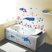 DNVEN (100cm w X 60cm h) Undersea Fishes Tropical Fishes Dolphin Coral Whales Sea Horse Vinyl Wall Stickers Wall Decals Removable Decors for Bedrooms Children Rooms Nursery