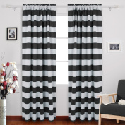 Deconovo Nautical Blackout Curtains Rod Pocket Room Darkening Curtains for Living Room 52W X 84L with Wave Stripes Pattern Black One Pair