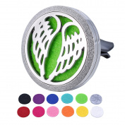 HOUSWEETY Car Air Freshener Aromatherapy Essential Oil Diffuser - Angel Wings Stainless Steel Locket,1 Refill Pads
