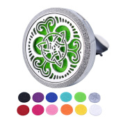 HOUSWEETY Car Air Freshener Aromatherapy Essential Oil Diffuser - Celtic Knot Stainless Steel Locket,11 Refill Pads