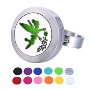 HOUSWEETY Aromatherapy Essential Oil Diffuser Ring-Stainless Steel Adjustable Ring,12 Refill Pads