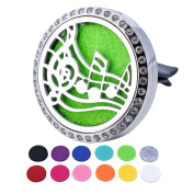 HOUSWEETY Car Air Freshener Aromatherapy Essential Oil Diffuser - Music Note Stainless Steel Locket,12 Refill Pads