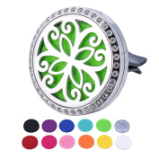 HOUSWEETY Car Air Freshener Aromatherapy Essential Oil Diffuser - Butterfly Stainless Steel Locket,12 Refill Pads