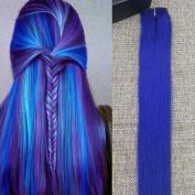 Full Hair 36cm Blue Hair Highlight Coloured Clip in Hair Extensions 4.1cm widex 5pcs