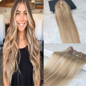 HairDancing 60cm 7Pcs 120g Balayage Clip in Extensions Golden Blonde Colour #16 Fading to #22 Medium Blonde Clip Hair Extensions Human Hair Ombre Clip Extensions