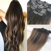 HairDancing 60cm 120gram 7Pcs Colour #2 Fading to #6 Medium Brown Best Quality Full Head Clip on Hair Extensions Human Hair Clip in Ombre Extensions Clip in Dip Dye Balayage Remy Extensions