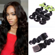 IUEENLY Brazilian Body Wave 3 Bundles With Closure 7A Brazilian Virgin Human Hair With 1Pcs Lace Closure Free Part Natural Colour
