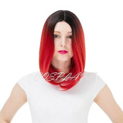 COSPLAZA Sweet Girl Ombre Red Black Halloween Cosplay Wig Bobo Synthetic Straight Hair