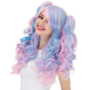 Mcoser Fashion Pink Blue 2 Tone Ombre Wig Cruly Hair on 2 Ponytails for Women