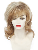 Medium long fluffy wavy hair golden synthetic wigs for American female