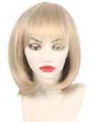 Fashion Straight Blonde Bob wig with bangs for females