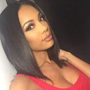 Intuition Hair 8A Gluless Bob Full Lace Human Hair Wigs Short Peruvian Virgin Hair 130% Density Lace Front Wigs for Black Women with Baby Hair