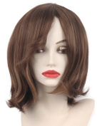 Short straight hair fashion BOB wig with Bangs Brown blonde Two Tone Mixed wig for female