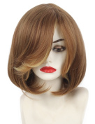 Short cut Wig with bangs light Brown blonde mixed colour straight synthetic hair wigs for Women