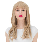 Mocser Fashion Flat Bangs Blonde Long Cruly Wigs for Women Natural Looking Wigs