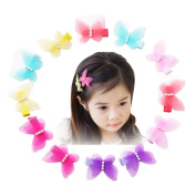 12Pcs Mesh Style Butterfly Hair Clips Hair Bow Cuter Kids Toddlers Girls Hair Clips Christmas Party Hair Style