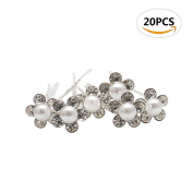 20pcs Sc0nni Exquisite Bridal Hair Pins,Beautiful Pearl Crystal Flower Crystal Wedding Hair Clips Hair Accessories,Each Has 5 Simulation Diamonds.