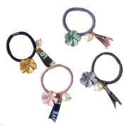 Lucky staryuan 4Pack Girls Student Elastic Hair Ties Band Ponytail Holders