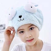 AUCH 1Pcs Adjustable Plush Cute Big Eyes Baby Hair Drying Hat Super Absorbent Towel Adjustable Infant Shower Bath Cap for Kids Boys Girls from 3 to 13 Yrs, Blue