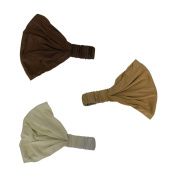 Set of 3 Wide Cotton Head Band Solid Boho Yoga Style Soft Hairbands Brown Camel Tan