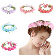 Ewandastore 1 Pcs Baby Girl Fashion Bohemian Flower Crown Floral Garland Headbands for Festival Party Beach,Hot Pink