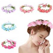 Ewandastore 1 Pcs Baby Girl Fashion Bohemian Flower Crown Floral Garland Headbands for Festival Party Beach,Hot Pink