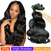 MAOYUAN Hair Virgin Brazilian Hair weave Body Wave 3 Bundles 10A Unprocessed Virgin Brazilian Hair Bundles Human Hair Weave Extensions Natural Black Colour