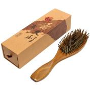 Neverland Beauty Anti-Static Natural Verawood Hair Brush - Detangling Scalp Sandalwood Massage Hair Comb - Wooden Bristle Cushioned Organic Hairbrush - Pointed comb