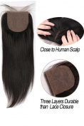 Greatremy 10cm x 10cm Silk Base Lace Closure Straight Virgin Hair With Baby Hair Free Part Natural Colour 41cm