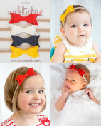 4 Leather Bows on Nylon Headbands Multi-packs for Baby and Girls. {Scarlett Robin Brand}