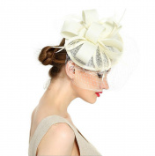 AWAYTR Women Fascinator Hat Fashion Sinamay Derby Church Hat Fancy Feather Headwear