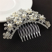 SBParts® Beautiful Jewellery Flowers Crystal Silver Rhinestones Pearls Women Hair Comb Clip Bridal Wedding Beauty Tools Accessories