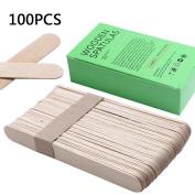 Bluezoo Waxing Sticks Spatulas Large Wood Wax Applicator for Eyebrow Bikini Hair Removal 100 Count