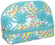 Modella Tropical Pineapple Collection Cosmetic Double-Zip Round Clutch