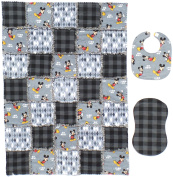 """Disney's MICKEY MOUSE """"Oh Boy"""" Print with Coordinating Grey and Black Accent Fabrics Baby Rag Quilt with Matching Burp Cloth and Bib"""