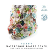 Baby Tooshy Cloth Nappy Covers with DOUBLE Gussets. Waterproof, Adjustable & Reusable. One Size for Prefolds/ Flats/ Inserts. Tabby