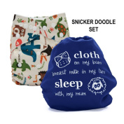 Baby Tooshy Cloth Nappy Covers with DOUBLE Gussets. Waterproof, Adjustable & Reusable. One Size for Prefolds/ Flats/ Inserts. Set has 1 Embroidered & 1 Patterned Cover. Snicker Doodle