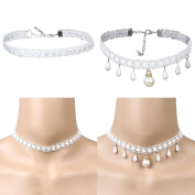 Tpocean 2 PCS Vintage White Gothic Tattoo Lace Wedding Choker Necklaces with Pearl Tassel Pendents for Women Girls Lady