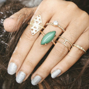 Hunputa 5pcs/Set Women Bohemian Vintage Gold Plated Stack Rings Above Knuckle Rings