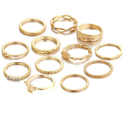 LALANG12pcs Golden Colour Jump Ring Carved Metal Knuckle Finger Ring