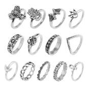 LALANG 13pcs Vintage Golden Plated Jump Ring Elephant palm moon Carved Finger metal Ring