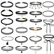 22 PCS Girls and Women's Classic Black Velvet and Black Stretch Gothic Tattoo and Black Lace Choker collar Necklace-Length Adjustable