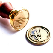Vooseyhome Initial Letter Alphabet W Wax Seal Stamp with Rosewood Handle