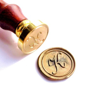 Vooseyhome Initial Letter Alphabet K Wax Seal Stamp with Rosewood Handle
