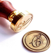 Vooseyhome Initial Letter Alphabet C Wax Seal Stamp with Rosewood Handle
