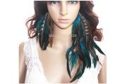 La Liberte Natural Feather Earrings Asymmetric Feather Earrings for Women