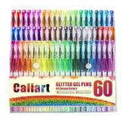 Caliart Glitter Gel Pens - 60 Unique Glitter Colours - Artist Quality Gel Pen Set for Adult Colouring Books Bullet Journal Mandalas Crafting Doodling Drawing Scrapbooking