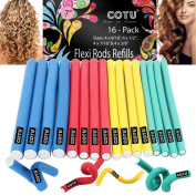 16 Pack of Professional Medium & Small Sizes Foam Flexi Rods Refills for Curly Hair by COTU